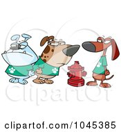 Royalty Free RF Clip Art Illustration Of A Cartoon Clique Of Dogs By A Hydrant