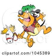 Royalty Free RF Clip Art Illustration Of A Cartoon Cowboy Bulldog Riding A Stick Pony by toonaday