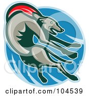 Royalty Free RF Clipart Illustration Of A Jumping Greyhound Logo by patrimonio
