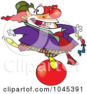 Royalty Free RF Clip Art Illustration Of A Cartoon Clown Balancing On A Ball by toonaday