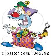 Royalty Free RF Clip Art Illustration Of A Cartoon Party Clown Using A Horn by toonaday