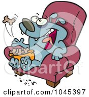 Cartoon Lazy Dog Eating Biscuits On A Chair