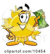 Sun Mascot Cartoon Character Holding A Dollar Bill