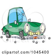 Royalty Free RF Clip Art Illustration Of A Cartoon Car With A Cracked Windshield