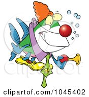 Royalty Free RF Clip Art Illustration Of A Cartoon Clown Fish Holding A Horn by toonaday