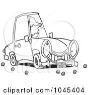 Royalty Free RF Clip Art Illustration Of A Cartoon Black And White Outline Design Of A Car With A Cracked Windshield by toonaday