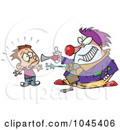 Royalty Free RF Clip Art Illustration Of A Cartoon Clown Scaring A Boy by toonaday