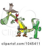 Royalty Free RF Clip Art Illustration Of A Cartoon Cowboy Lizard Ready To Draw His Gug by toonaday