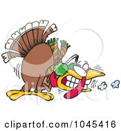 Royalty Free RF Clip Art Illustration Of A Cartoon Shivering Cold Turkey by toonaday