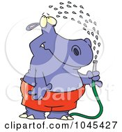 Royalty Free RF Clip Art Illustration Of A Cartoon Hippo Spraying Himself With A Hose by toonaday