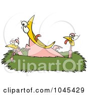 Royalty Free RF Clip Art Illustration Of A Cartoon Competitive Chick Screaming In A Nest by toonaday