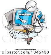Cartoon Desktop Computer Doctor