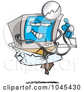 Royalty Free RF Clip Art Illustration Of A Cartoon Desktop Computer Doctor