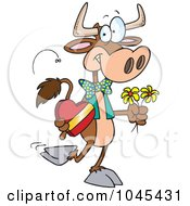 Royalty Free RF Clip Art Illustration Of A Cartoon Romantic Cow by toonaday