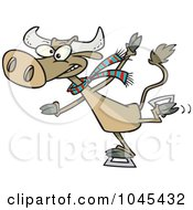 Royalty Free RF Clip Art Illustration Of A Cartoon Cow Ice Skating by toonaday