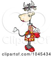 Royalty Free RF Clip Art Illustration Of A Cartoon Female Cow Carrying A Purse by toonaday