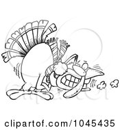 Royalty Free RF Clip Art Illustration Of A Cartoon Black And White Outline Design Of A Shivering Cold Turkey by toonaday