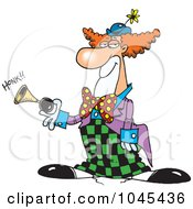 Royalty Free RF Clip Art Illustration Of A Cartoon Party Clown Honking A Horn by toonaday