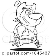 Royalty Free RF Clip Art Illustration Of A Cartoon Black And White Outline Design Of A Bear Cowboy