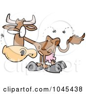 Royalty Free RF Clip Art Illustration Of A Cartoon Stinky Cow by toonaday