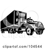 Black And White Driving Big Rig Truck