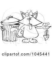 Royalty Free RF Clip Art Illustration Of A Cartoon Black And White Outline Design Of A Cat Holding A Fish Bone by toonaday