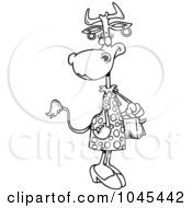 Royalty Free RF Clip Art Illustration Of A Cartoon Black And White Outline Design Of A Female Cow Carrying A Purse