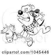 Royalty Free RF Clip Art Illustration Of A Cartoon Black And White Outline Design Of A Cowboy Bulldog Riding A Stick Pony