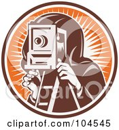 Royalty Free RF Clipart Illustration Of A Brown Box Camera And Photographer Logo by patrimonio