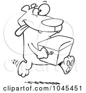 Royalty Free RF Clip Art Illustration Of A Cartoon Black And White Outline Design Of A Bear Stealing A Cooler