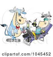 Royalty Free RF Clip Art Illustration Of A Cartoon Waiter Cow Serving A Female Cow A Beverage Poolside