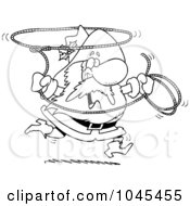 Royalty Free RF Clip Art Illustration Of A Cartoon Black And White Outline Design Of A Cowboy Santa Swinging A Lasso