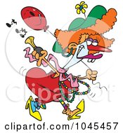 Royalty Free RF Clip Art Illustration Of A Cartoon Female Clown With A Horn by toonaday