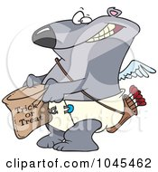 Royalty Free RF Clip Art Illustration Of A Cartoon Cupid Bear Trick Or Treating by toonaday