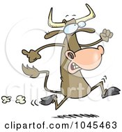 Royalty Free RF Clip Art Illustration Of A Cartoon Running Cow by toonaday