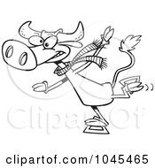 Royalty Free RF Clip Art Illustration Of A Cartoon Black And White Outline Design Of A Cow Ice Skating by toonaday
