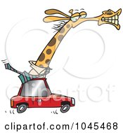Royalty Free RF Clip Art Illustration Of A Cartoon Business Rhino Commuting By Car by toonaday