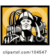 Royalty Free RF Clipart Illustration Of A Yellow And Black Factory Worker Logo by patrimonio