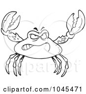 Royalty Free RF Clip Art Illustration Of A Cartoon Black And White Outline Design Of A Tough Crab