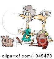 Royalty Free RF Clip Art Illustration Of A Cartoon Senior Couple Walking Their Dog