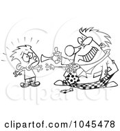 Royalty Free RF Clip Art Illustration Of A Cartoon Black And White Outline Design Of A Clown Scaring A Boy by toonaday