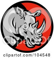 Royalty Free RF Clipart Illustration Of A Mad Rhino Logo by patrimonio