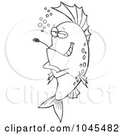 Cartoon Black And White Outline Design Of A Cool Fish Chewing On Straw