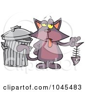 Royalty Free RF Clip Art Illustration Of A Cartoon Cat Holding A Fish Bone by toonaday