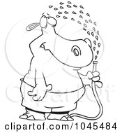 Royalty Free RF Clip Art Illustration Of A Cartoon Black And White Outline Design Of A Hippo Spraying Himself With A Hose