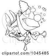 Cartoon Black And White Outline Design Of A Clown Fish Holding A Horn