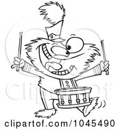 Cartoon Black And White Outline Design Of A Monster Banging A Drum