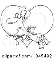 Royalty Free RF Clip Art Illustration Of A Cartoon Black And White Outline Design Of A Goofy Cupid Over A Heart by toonaday
