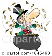 Royalty Free RF Clip Art Illustration Of A Cartoon Leprechaun Celebrating In His Pot Of Gold by Ron Leishman