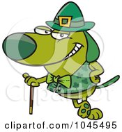 Cartoon St Patricks Day Dog Leaning On A Cane